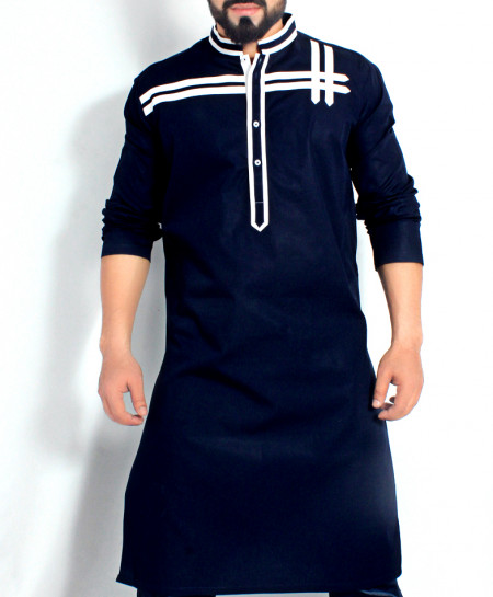 Dark Blue Stylish Kurta with White Tipping CD-008