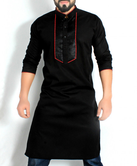 Black Stylish Design Kurta with Red Tipping CD-010