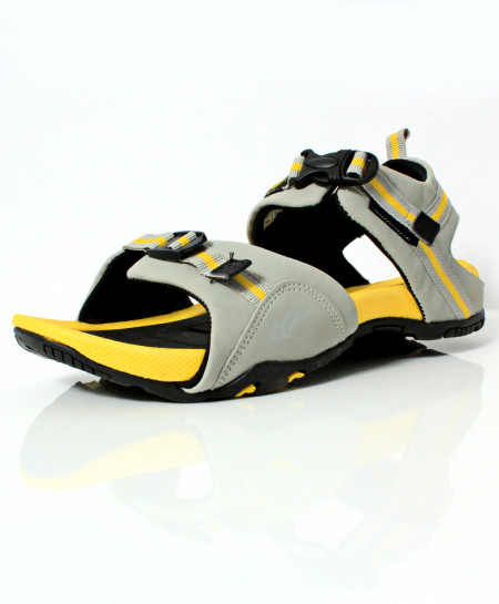 Gray Yellow Stitched Design Casual Sandal DR-481