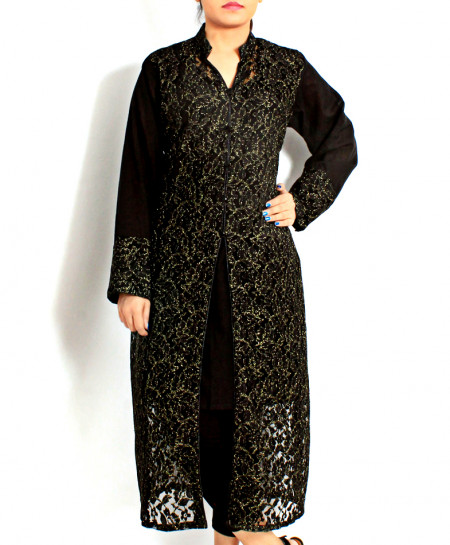 Black Net Embroidered Stylish Long Kurti VRJ-2810