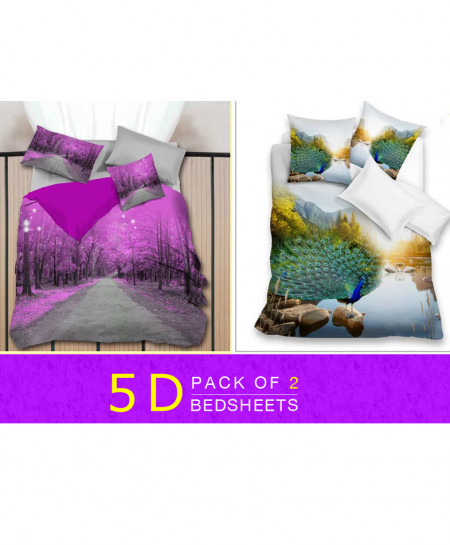 Pack Of 2 5D Floral Bedsheets WQ-873