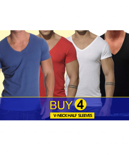 Pack Of 4 V-Neck Stylish T-Shirts FHG-667
