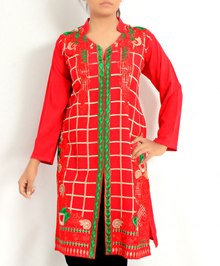 Dark Fuschia Embroidered Stylish Kurti KC-3750