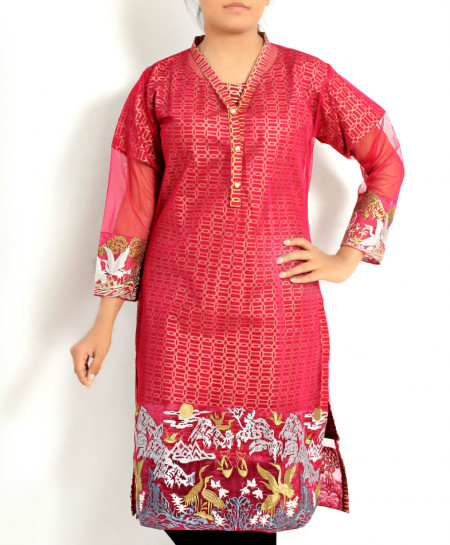 Dull Fuschia Net Embroidered Stylish Kurti KC-3756