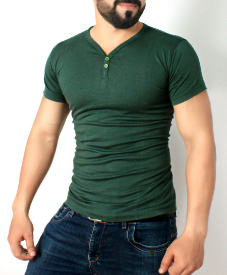 Forest Green Button Style T-Shirt QZS-131