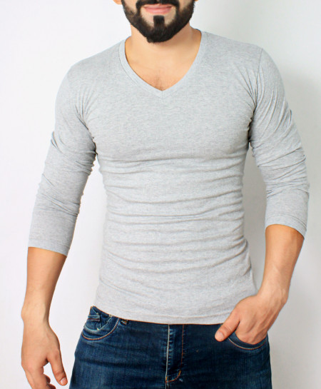 Grey V-Neck Style Full Sleeves T-Shirt QZS-983