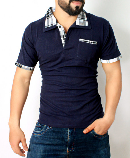 Navy Blue Checkered Collar Mens Polo Shirt QZS-089