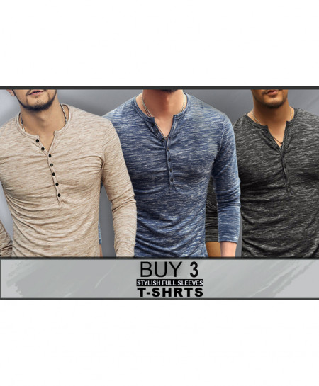 Pack Of 3 Stylish Full Sleeves T-Shirts KP-378