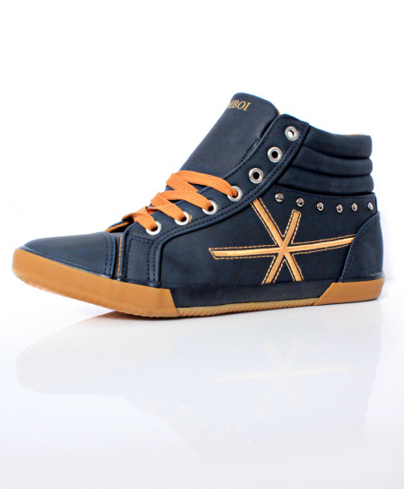 Navy Blue Stitched Design Casual Shoes DR-500