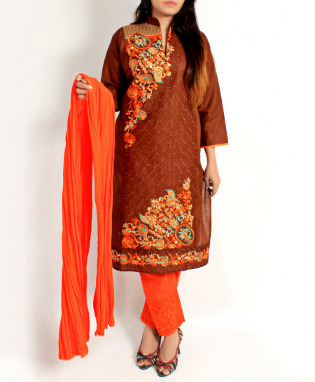 Choco Brown Embroidered Stylish Ladies Suit AKG-008