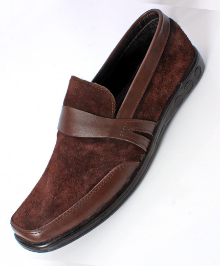 Choco Brown Suede Leather Stylish Formal Shoes LC-008
