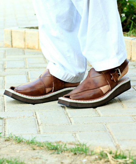 Choco Brown Faded Stitched Kaptaan Sandal AK-2722
