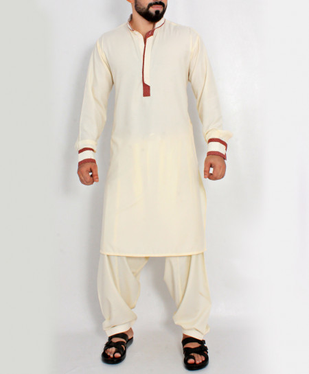 Cream Stylish Design Kurta With Maroon Tipping CD-018