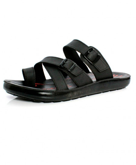Black Dual Buckle Strap Style Casual Slipper OS-006