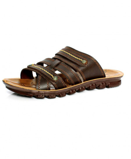 Choco Brown Tri Strap Stylish Casual Slipper OS-007