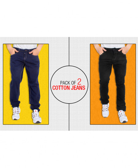 Pack Of 2 Stylish Cotton Jeans FDS-265