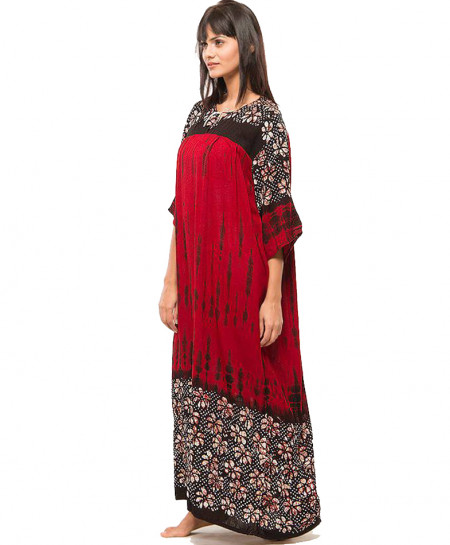Red Summer Flower Long Caftan MBK-004