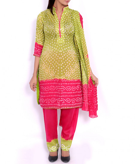 Sage Fuschia Chunri Lawn 2Shaded Unstitched Suit BS-501