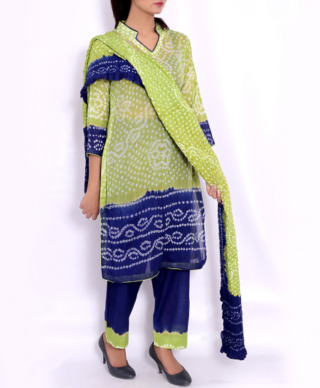 Sage Blue Chunri Lawn 2Shaded Unstitched Suit BS-514