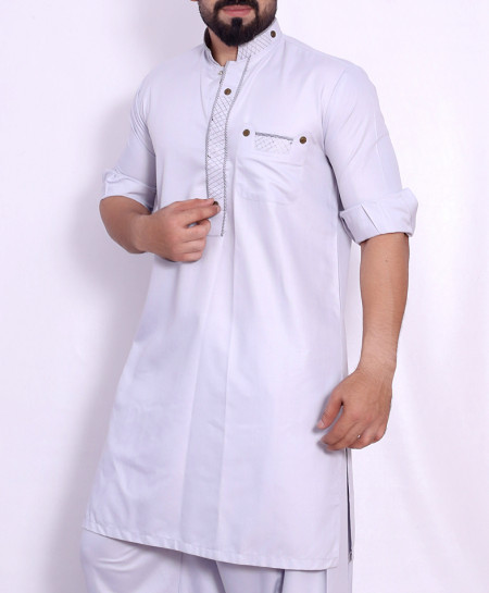 Light Grey Stylish Design Kurta Shalwar SJL-035