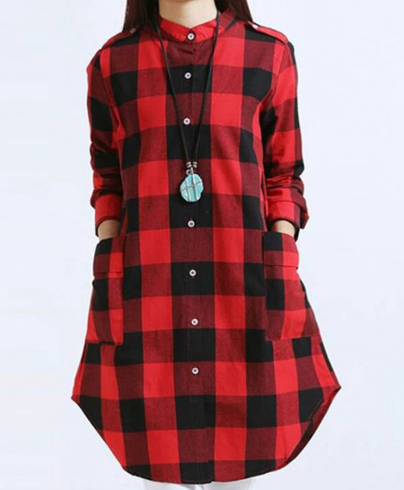 Blackish Red Pocket Style Kurti SF-4512