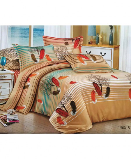 Brown Fur Laser Print Cotton Bedsheet CB-061