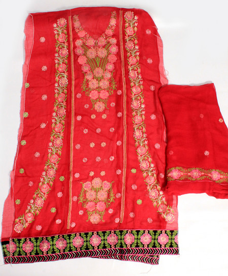 Red Embroidered Stylish Unstitched Suit NMS-100