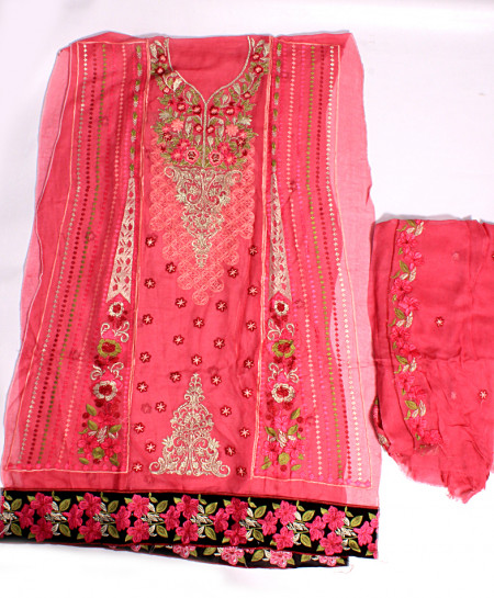 Pink Embroidered Stylish Unstitched Suit NMS-102