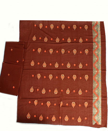 Brown Golden Embroidered Unstitched Suit NMS-105