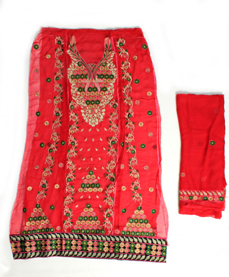 Red Embroidered Stylish Unstitched Suit NMS-106