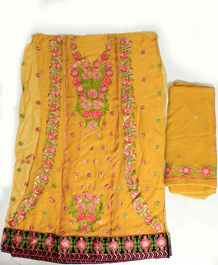 Yellow Embroidered Stylish Unstitched Suit NMS-108