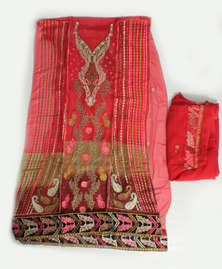 Red Embroidered Stylish Unstitched Suit NMS-109