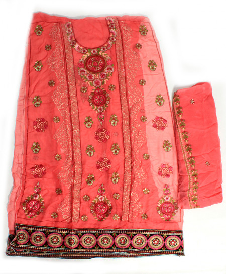 Pink Embroidered Stylish Unstitched Suit NMS-110