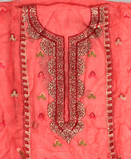 Pink Embroidered Stylish Unstitched Suit NMS-111