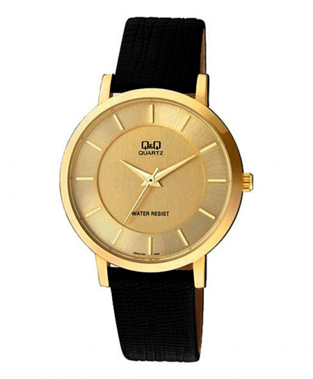 Q and Q Golden Dial Stylish Watch Q944J100