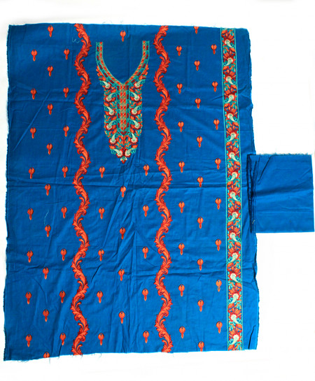 Blue Embroidered Stylish Unstitched Suit NMS-117