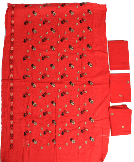 Red Black Embroidered Stylish Unstitched Suit NMS-118