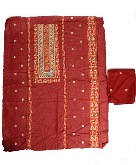 Red Embroidered Stylish Unstitched Suit NMS-119