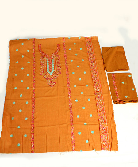 Orange Embroidered Stylish Unstitched Suit NMS-120