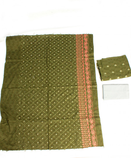 Green Embroidered Stylish Unstitched Suit NMS-121