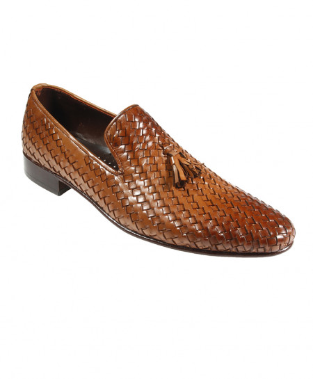 Mustard Brown Leather Weaved Design Formal Shoes SPK-005
