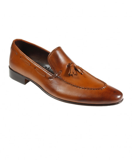 Mustard Leather Loafer Style Formal Shoes FIL-002