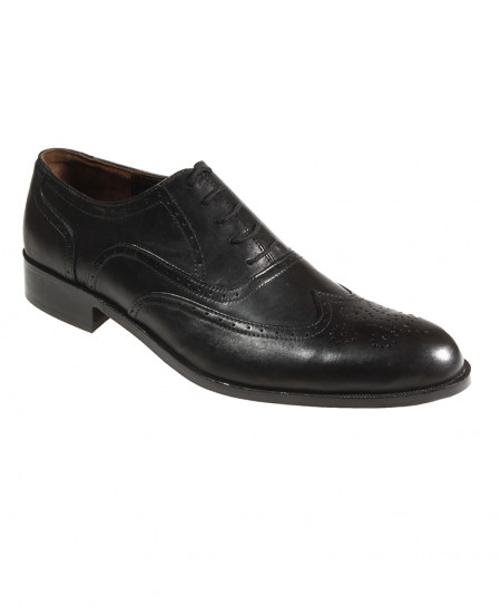 Black Leather Dotted Design Formal Shoes FIL-T21