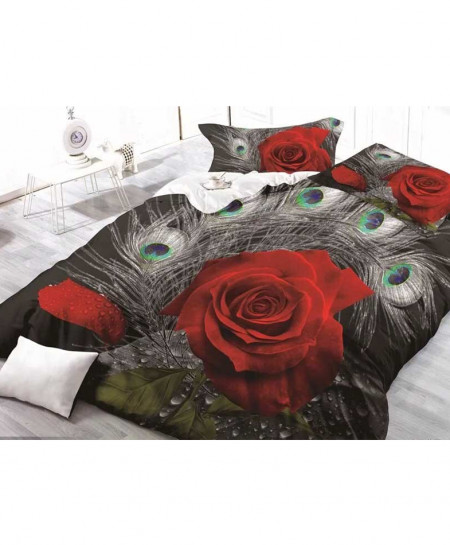 3D Red Floral Cotton Satin Bedsheet SD-0430
