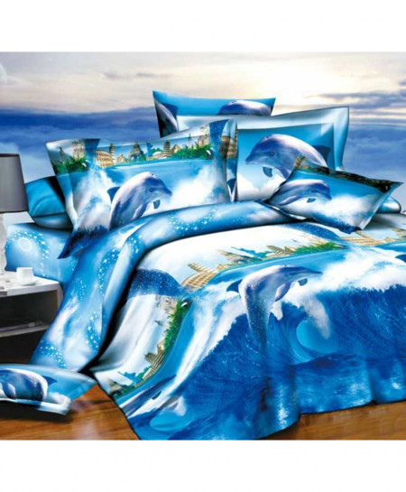 3D Blue Scenery Printed Cotton Satin Bedsheet SD-0438