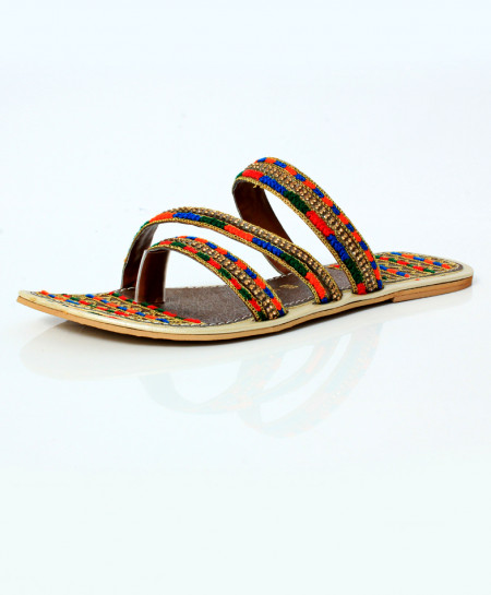 Brown Varicolored stones Design Fancy Slipper RG-k3B