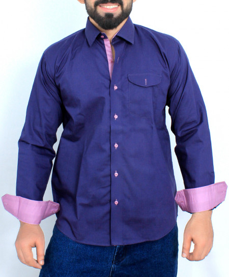 Navy Blue Stylish Cotton Formal Shirt FW-41
