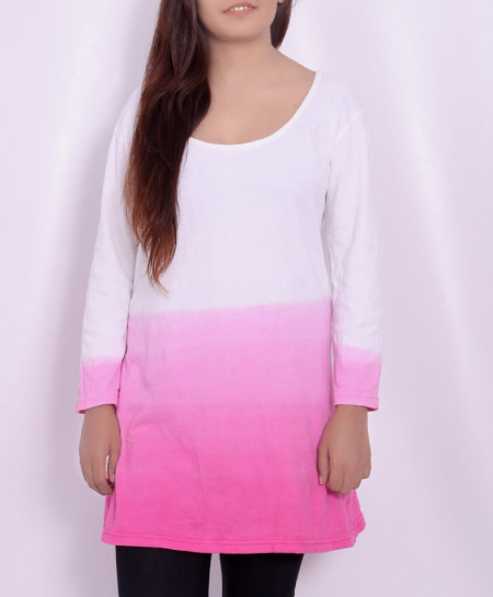 Pink Dip White Ladies Tops with Black Trousers FSF-0022