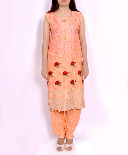 Peach Floral Embroidered Stylish Suit OM-5139