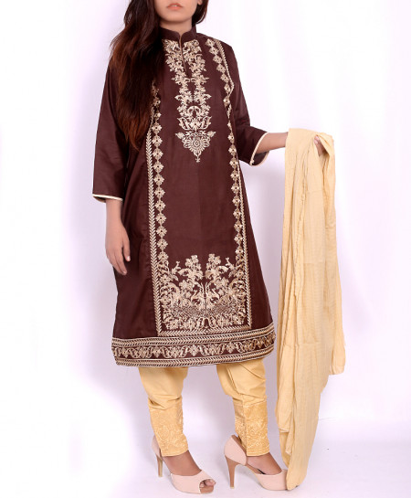 Brown Embroidered Stylish Ladies Suit AKG-001